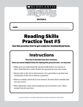 Reading Skills Practice Tests Scholastic News 4