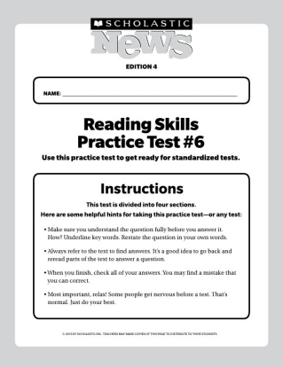 Reading Skills Practice Tests Scholastic News 4